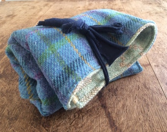 Double sided welsh tapestry and Harris tweed baby pram blanket /quilt - celtic pride