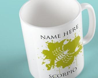 Personalised Scorpio Zodiac Mug, Starsign Mug