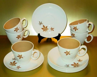 Random Leaves Cups and Saucers Set (6) by Taylor, Smith & T, Ever Yours Collection