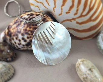 Large Mother of Pearl Shell Pendant 925 Sterling Silver