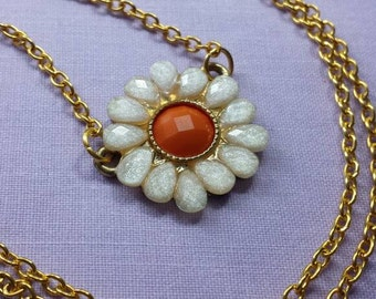 Orange and gold flower chain necklace
