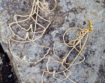Ginko Leaf and Nut wire drop earrings