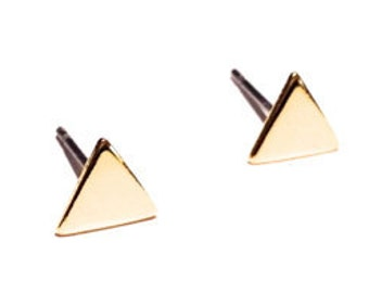Triangle Stud Earring, Gold Post Earring, Gold Studs