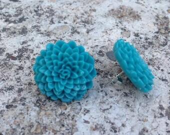 Teal Dahlia Earrings