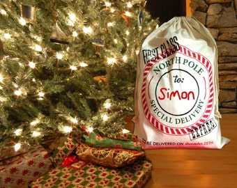 Personalized Santa Sack, Personalized Christmas Gift Sack, Personalized Holiday Sack, Holiday Gift Bag, Holiday Gift Sack