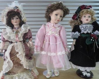 Vintage Porcelain Collectible Dolls