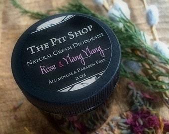 Rose & Ylang Ylang Natural Cream Deodorant - The Pit Shop, Deodorant Cream, Aluminum-Free, Vegan Deodorant, Organic Deodorant, Deoderant