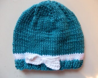 SALE Handmade Knit Baby Hat for 6-12 months, Teal with White Bow
