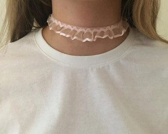 """Choker"" collar fabric froufrou"