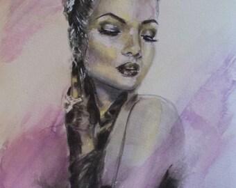 Watercolor,portrait,figure