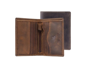 Visconti small and slim wallet - Arrow - Oiled BROWN Leather