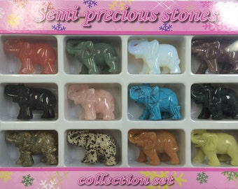 All Natural Gemstone Elephant Set of 12