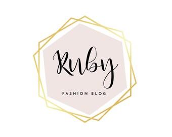 Pre-made Logo Design | 'Ruby' | Hexagon Logo | Photography Logo | Blog Header | Gold foil |Business Branding | Branding Design | Custom logo
