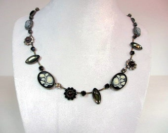 Swarovski Vintage Black and White Cameo Stone Necklace