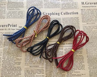 Genuine leather cord, braided leather cord, real leather cord, 3mm round leather cord, handmade leather cord, leather crafts, 5 meters