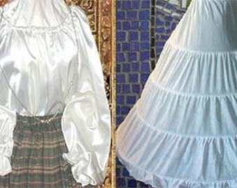 Renaissance SATIN or Cotton CHEMISE AND Hoop Skirt  for Halloween, Theater, Cosplay, Madrigals, Medieval