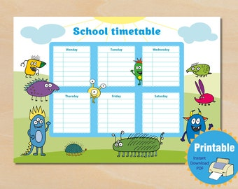 School timetable, School Schedule Timetable, Instant Download, Printable Daily Planner