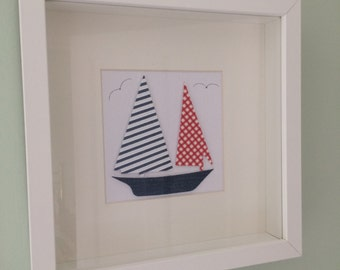 Fabric boat - framed paper art