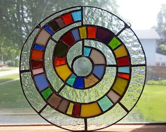 Stained Glass Rainbow Spiral Suncatcher Colorful Geometric Round Circle