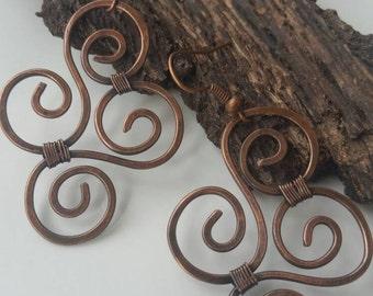 handmade copper wire earrings, antique copper wire earrings, handmade copper wire wrapped earrings