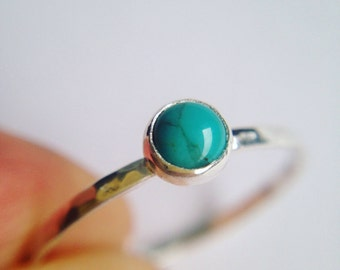 Turquoise Ring, December birthstone, Turquoise stacking  ring, Gemstone Silver ring, Hammered Gemstone Ring, Dainty Ring, turquoise Jewelry