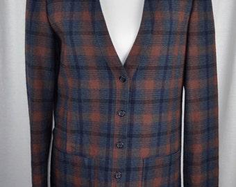 Women's Pendleton Plaid Blazer with Cardigan-Style Collar Sz 6