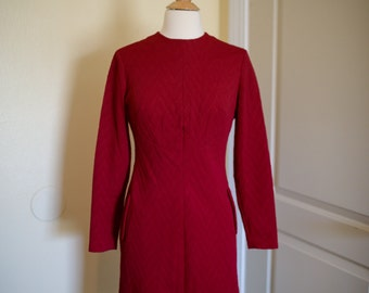 1960s Vintage Red Sheath Dress