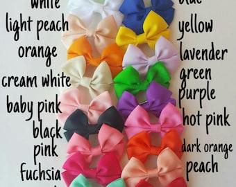 """Mini Hair Bow, 2.5"""" Ribbon Hair Bow, Small Hair Bow, 2.5 Hair Bow, 20 different colors"""