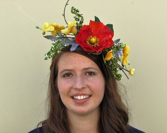 Red poppy floral crown