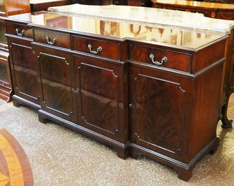 Lots of Storage! Chippendale Flame Mahogany Sideboard Server Buffet MINT