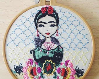 Frida, Embroidery Hoop Art, Needlepoint, Cotton Home Decor, Fabric Wall Hanging, Wall Art, Handmade Gifts, Gifts under 50