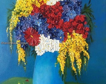 Bright Flowers (14x11, Enhanced Oil Painted Print on Canvas)