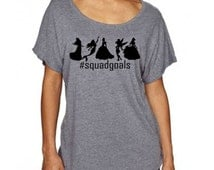Squad Goals Disney Princess Inspired Soft and Comfortable T Shirt - Cinderella, Belle, Tinkerbell, Ariel and Aurora