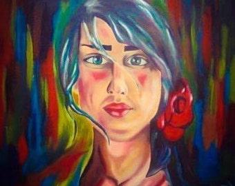 Spanish woman original acrylic painting