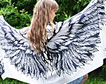 Scarfs white angel wings - 100% cotton, women's scarf, winged fairy scarves, Bohemian bird feathers shawl sarong Unique gift for her