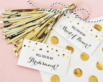 Will you be my bridesmaid tags-set of 6-bridesmaid favor tags, bridal party tags, gold bridesmaids tags