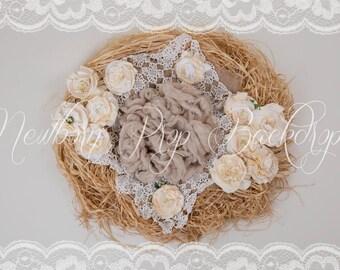 Newborn Digital Backdrop (raffia/nest/crochet/flowers/white)