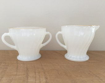 Milk Glass Cream and Sugar Set