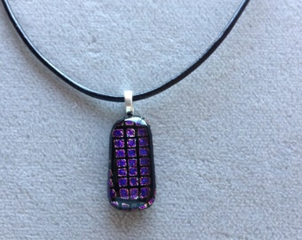 Dichroic purple square pendant.