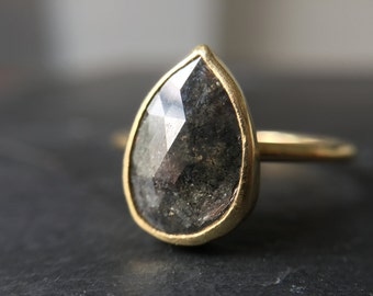 Rose Cut Grey Pear Diamond Ring