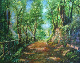 Forest Path Original Landscape Oil Painting (24x30)