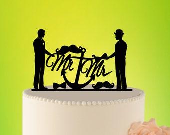 GAY wedding Cake Topper, Mr and Mr Cake Topper, Gay Wedding Decoration, Acrylic Topper GAY, Personalized wedding, Custom topper L2-01-009