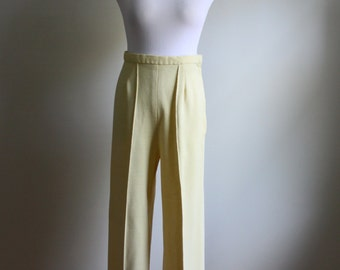 1970s Wide Leg Cream Pants // Vintage High Waist Pants
