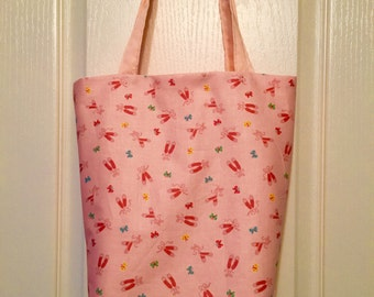 Pink Tote Bag With Ballet Dance Pattern