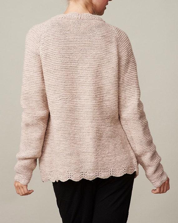 Ladies Raglan Jumper Knitting Pattern : Womens purl knit cardigan PDF knitting pattern /cozy knit sweater patter...
