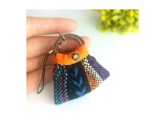 Handmade miniature Nepal cotton bag with removable strap