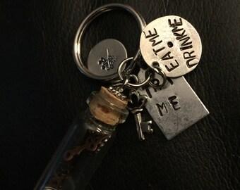 Alice in wonderland hand stamped keychain