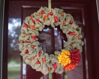 Burlap autumn wreath