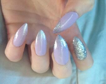 Purple glitter fake nails, stiletto glue on nails
