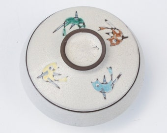 Vintage dish with lid with images of birds-Retro ceramics